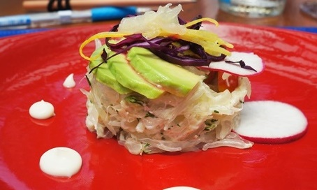 Crab salad with avocado and exotic fruits